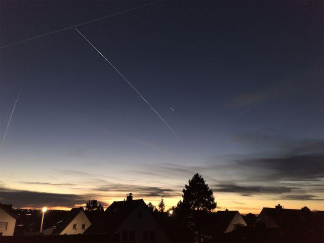 Die Spur der ISS am Himmel über Uedorf